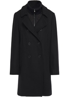 Dkny Woman Double-breasted Wool-blend Twill Coat Black