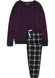 Dkny Woman Embroidered Checked Fleece Pajama Set Dark Purple