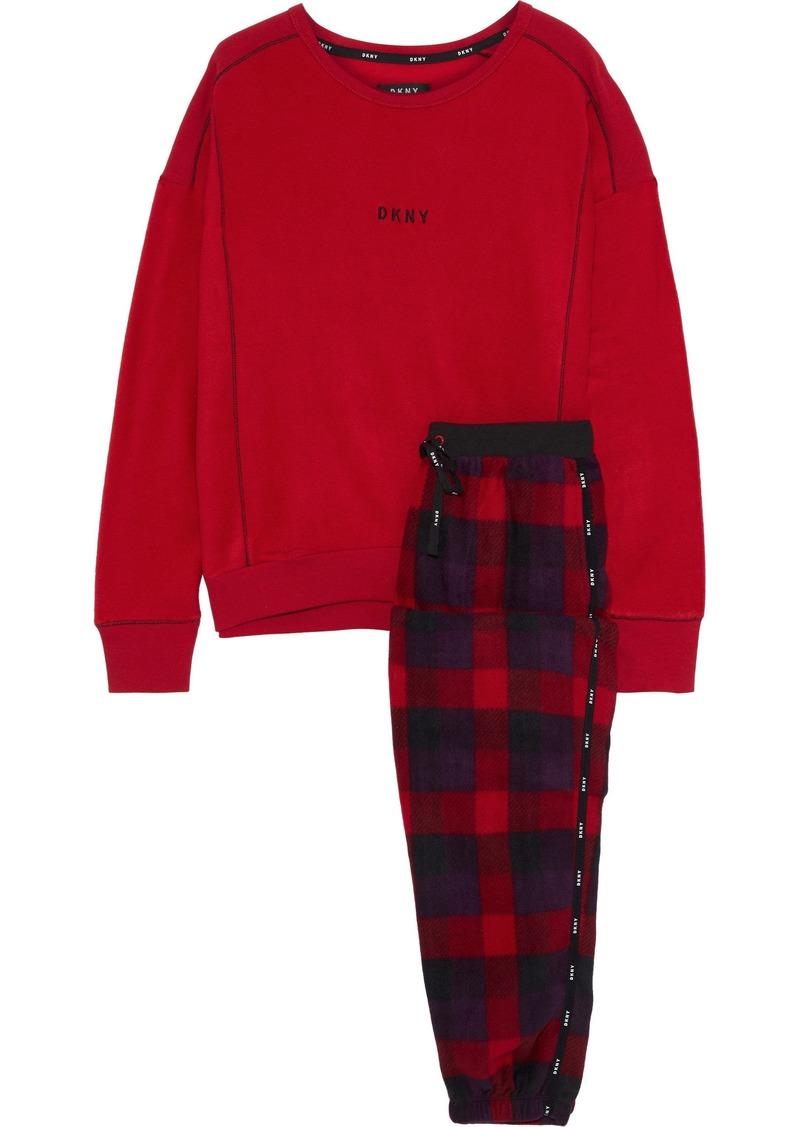 Dkny Woman Embroidered Checked Fleece Pajama Set Red