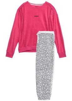 Dkny Woman Embroidered Printed Fleece Pajama Set Pink