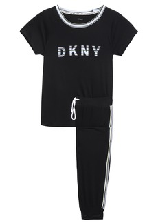 Dkny Woman Embroidered Printed Stretch-jersey Pajama Set Black