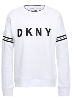 Dkny Woman Embroidered Striped French Cotton-blend Terry Sweatshirt White