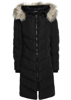 Dkny Woman Faux Fur-trimmed Quilted Shell Down Coat Black