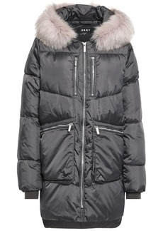 Dkny Woman Faux Fur-trimmed Quilted Shell Hooded Down Coat Anthracite