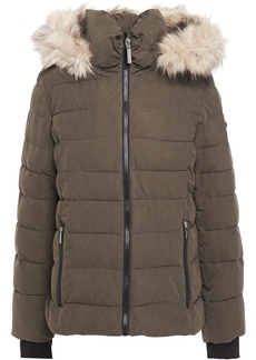 Dkny Woman Faux Fur-trimmed Quilted Sateen Hooded Down Coat Army Green