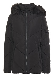 Dkny Woman Faux Fur-trimmed Quilted Shell Hooded Jacket Black