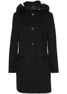 Dkny Woman Faux Fur-trimmed Wool-blend Coat Black