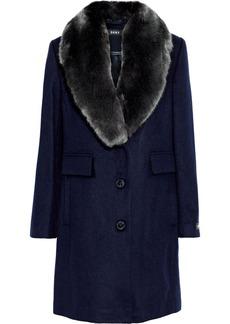 Dkny Woman Faux Fur-trimmed Wool-blend Felt Coat Navy