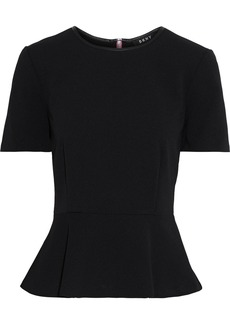 Dkny Woman Faux Leather-trimmed Crepe Peplum Top Black