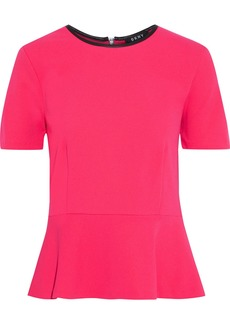 Dkny Woman Faux Leather-trimmed Crepe Peplum Top Fuchsia