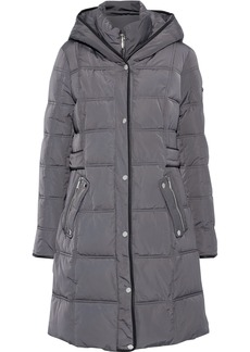 Dkny Woman Faux Leather-trimmed Quilted Shell Hooded Coat Anthracite