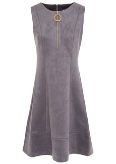 Dkny Woman Flared Faux Stretch-suede Mini Dress Gray