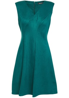 Dkny Woman Flared Faux Stretch-suede Dress Teal
