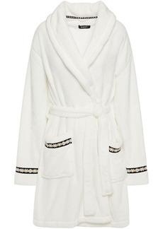 Dkny Woman Monogram-trimmed Fleece Robe Off-white
