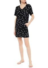 Dkny Woman Floral-print Jersey Nightdress Black