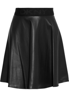 Dkny Woman Fluted Faux Leather Mini Skirt Black