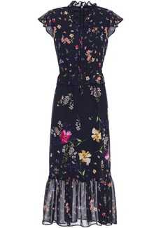 Dkny Woman Fluted Tie-neck Floral-print Georgette Midi Dress Navy