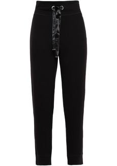 Dkny Woman Cropped French Terry Track Pants Black
