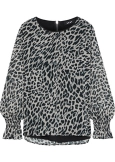 Dkny Woman Gathered Leopard-print Georgette Blouse Black