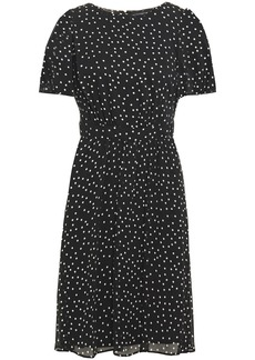Dkny Woman Gathered Polka-dot Crepon Dress Black