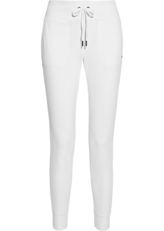 Dkny Woman Glitter-embellished French Cotton-blend Terry Track Pants White