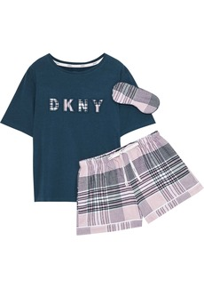 Dkny Woman Hello Fall Appliquéd Cotton-blend Jersey And Checked Flannel Pajama Set Storm Blue