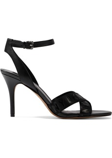 Dkny Woman Ivy Logo-print Woven And Leather Sandals Black
