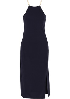 Dkny Woman Lace-up Cady Halterneck Midi Dress Navy