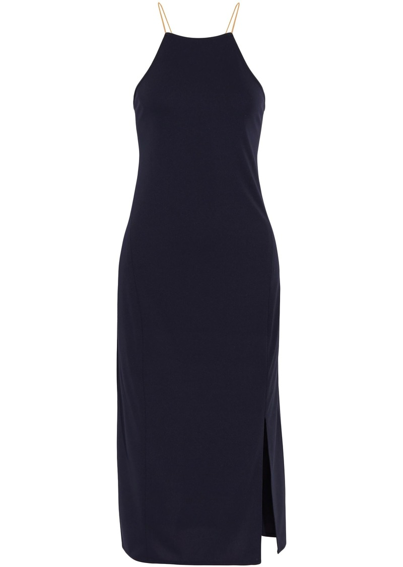 Dkny Woman Lace-up Cady Halterneck Midi Dress Navy