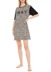 Dkny Woman Printed Cotton-blend Jersey Nightdress Animal Print
