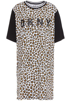 Dkny Woman Printed Cotton-blend Jersey Nightdress Animal Print