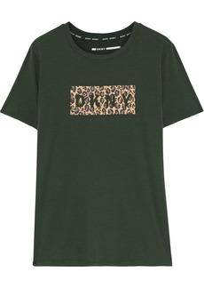 Dkny Woman Leopard-print Cotton-blend Jersey T-shirt Dark Green