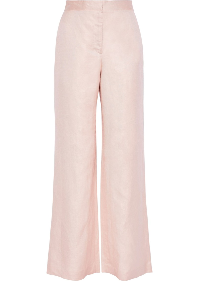 Dkny Woman Linen And Cotton-blend Twill Wide-leg Pants Blush