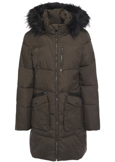 Dkny Woman Faux Fur-trimmed Quilted Shell Hooded Coat Army Green