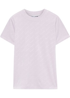 Dkny Woman Logo-debossed Stretch-velour T-shirt Lilac