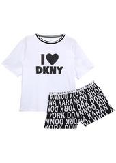 Dkny Woman Logo-print Cotton-blend Jersey Pajama Set White
