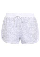 Dkny Woman Logo-print Terry Pajama Shorts Light Gray
