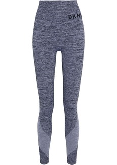 Dkny Woman Mesh-paneled Marled Stretch Leggings Gray