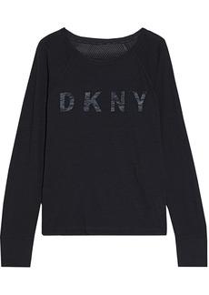 Dkny Woman Mesh-paneled Printed Slub Cotton-jersey Top Black