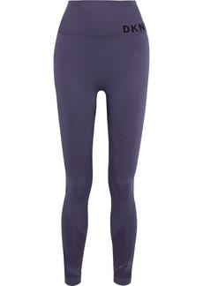 Dkny Woman Mesh-paneled Printed Stretch Leggings Purple