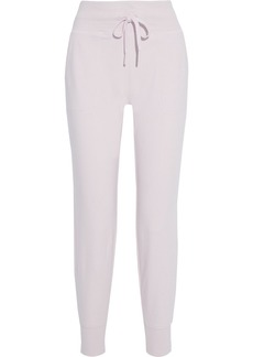 Dkny Woman Mesh-trimmed French Cotton-blend Terry Track Pants Pastel Pink