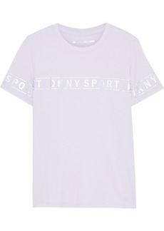Dkny Woman Metallic Printed Cotton-blend Jersey T-shirt Lilac