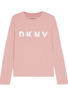 Dkny Woman Metallic Printed Stretch Cotton And Modal-blend Jersey Top Baby Pink