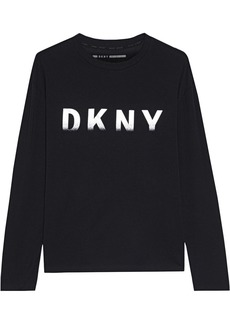 Dkny Woman Metallic Printed Stretch Cotton And Modal-blend Jersey Top Black