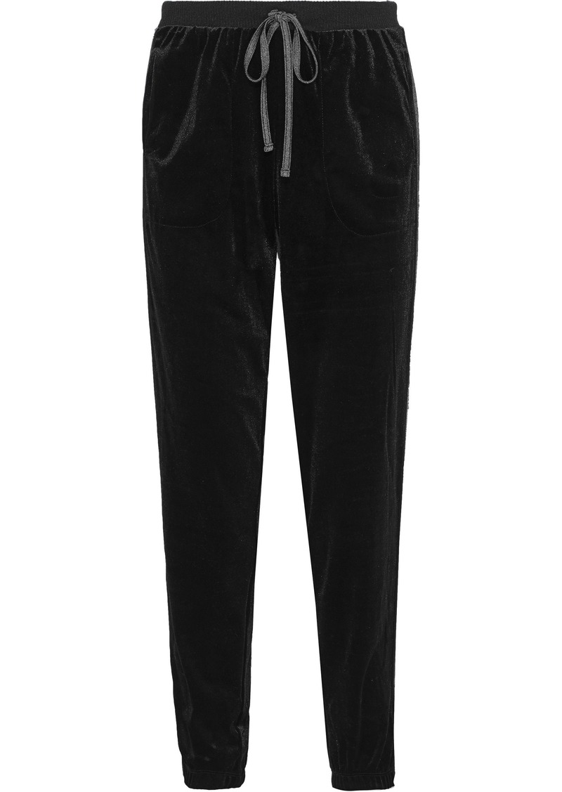 Dkny Woman Metallic-trimmed Velour Pajama Pants Black