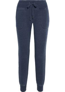 Dkny Woman Mélange Cotton-blend Fleece Track Pants Indigo