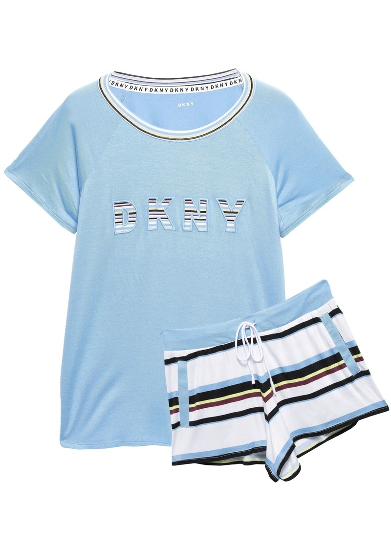 Dkny Woman Mélange Printed Stretch-jersey Pajama Set Sky Blue