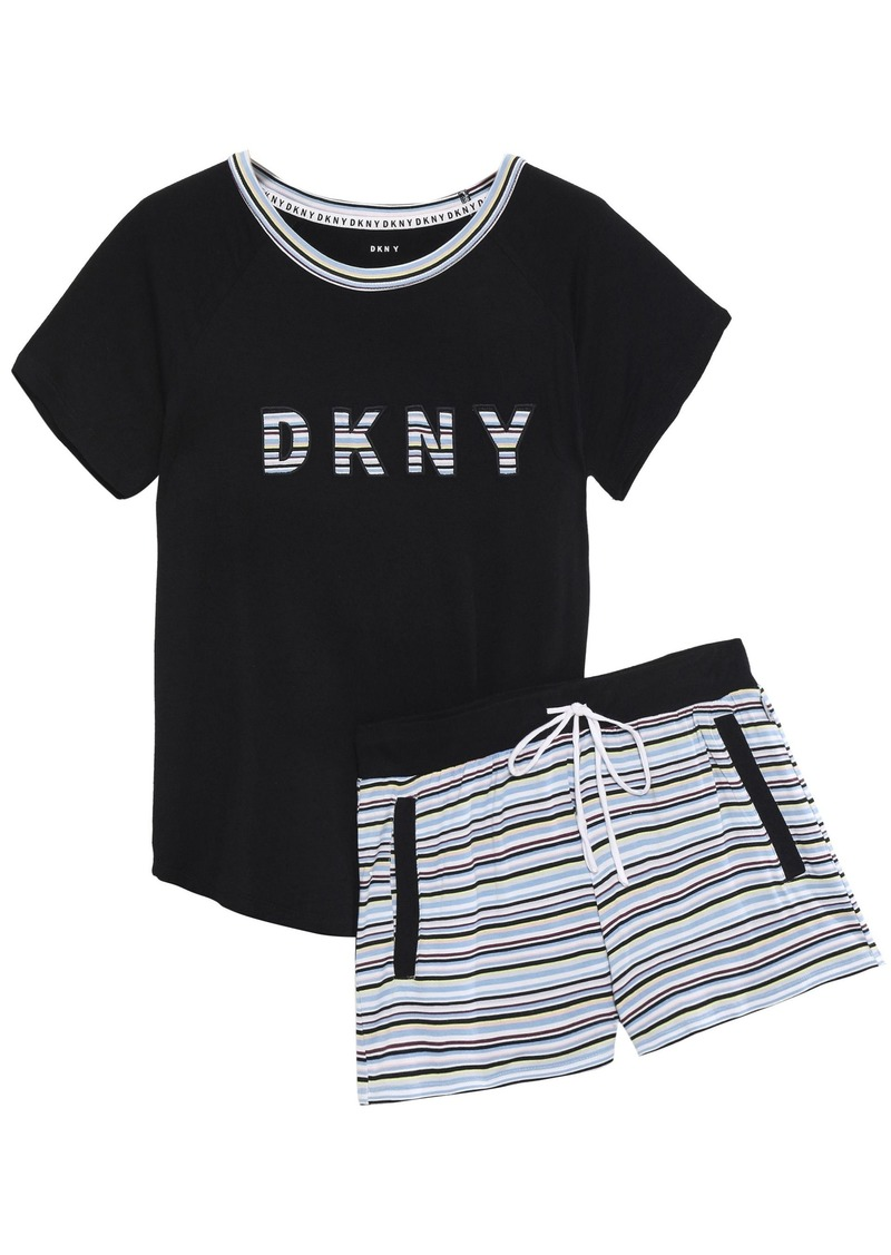 Dkny Woman Mélange Printed Stretch-jersey Pajama Set Black