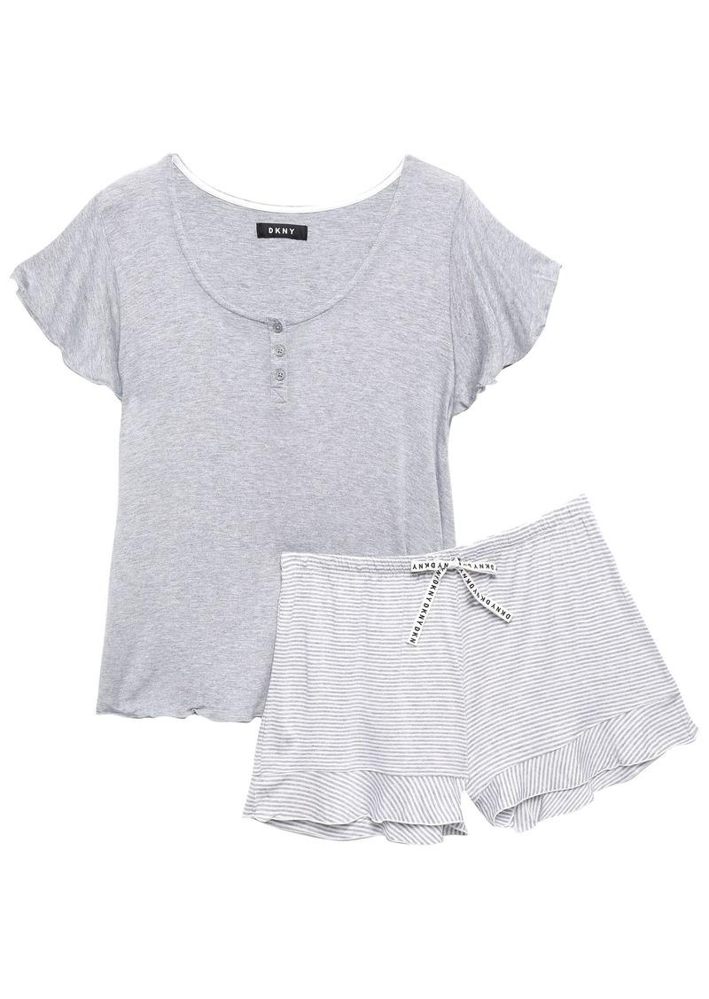 Dkny Woman Mélange Striped Stretch-jersey Pajama Set Stone