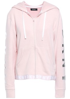 Dkny Woman Monogram-trimmed Fleece Hoodie Blush